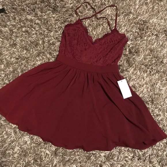 Mila Wine Lace Pleated Skater Dress Nwt